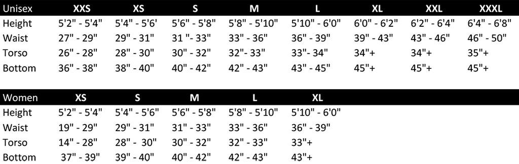 Brynje Size Chart